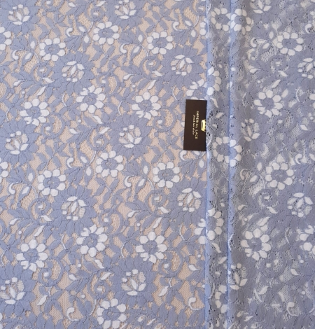 Greyish blue with white floral pattern guipure lace fabric. Photo 4