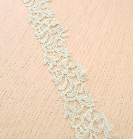 Mint green light macrame floral pattern lace trimming. Photo 4