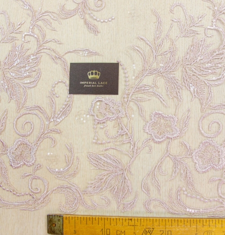 Old rose floral pattern embroidery with sequin on tulle fabric. Photo 8