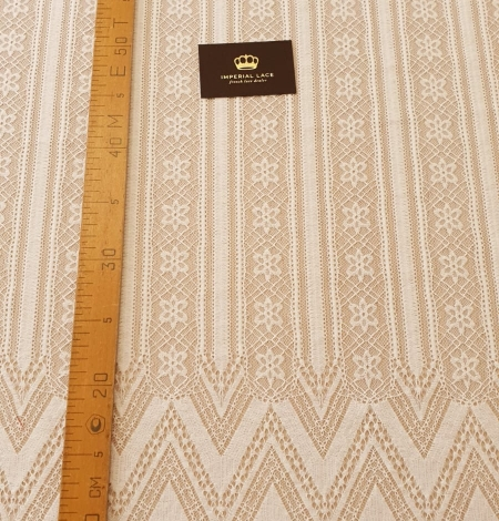 Ivory 100% polyester stripes and flowers guipure lace fabric. Photo 10