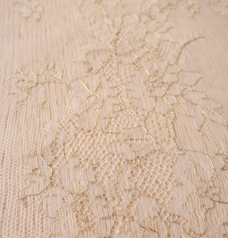 Ivory and grey with gold thread chantilly lace fabric. Photo 4
