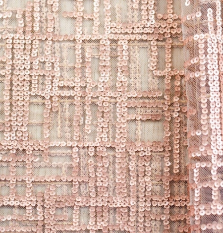 Rose gold sequins embroidered fabric . Photo 6