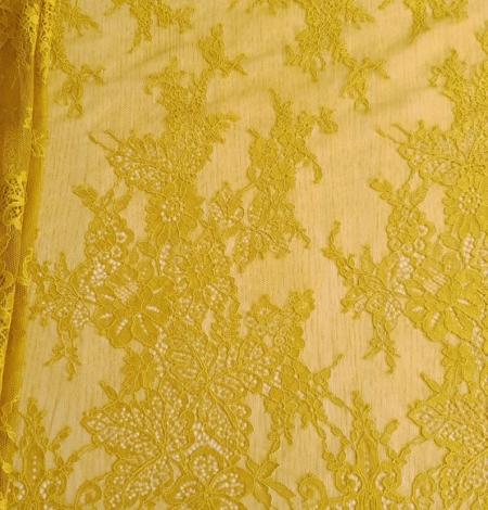 Mustard lace fabric. Photo 4
