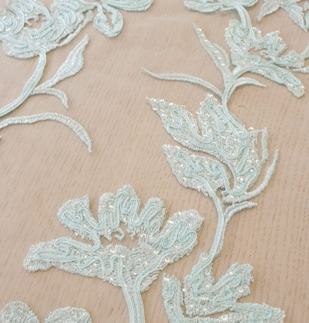 Blue floral pattern sequin embroidery on tulle fabric. Photo 3