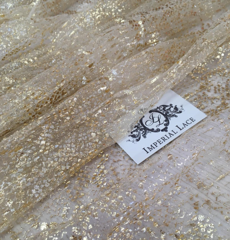 Nude pleated tulle fabric with gold spotting. Photo 4