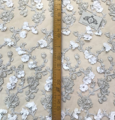 White with silver thread beaded lace fabric. Photo 4