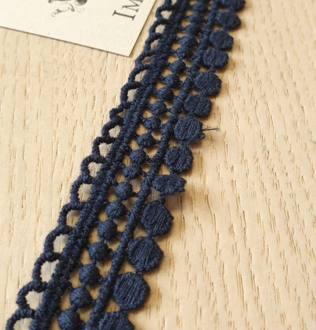 Dark blue macrame lace trimming. Photo 1