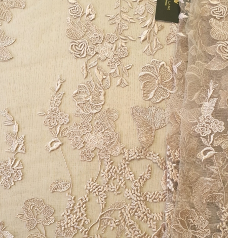Dark powder nude floral pattern embroidery on tulle fabric. Photo 1