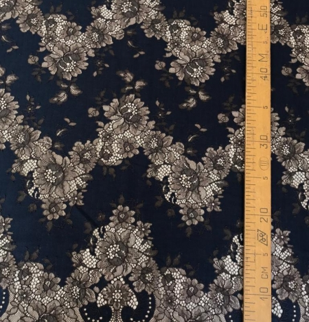 Dark blue with brown flower pattern lace fabric. Photo 5
