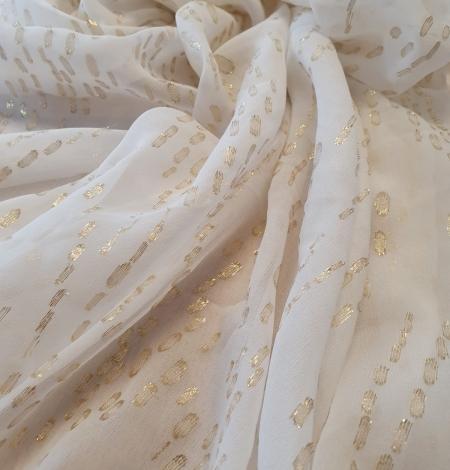 Ivory with gold dots silk crepe chiffon fabric. Photo 5