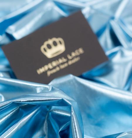 Blue color shiny rain coat fabric. Photo 2