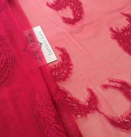 Raspberry pink lace fabric. Photo 4