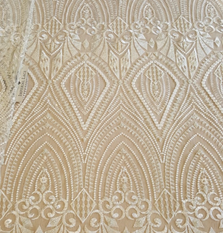 Off white embroidery lace fabric. Photo 4