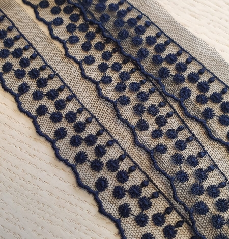 Dark blue dots on tulle lace trimming. Photo 3