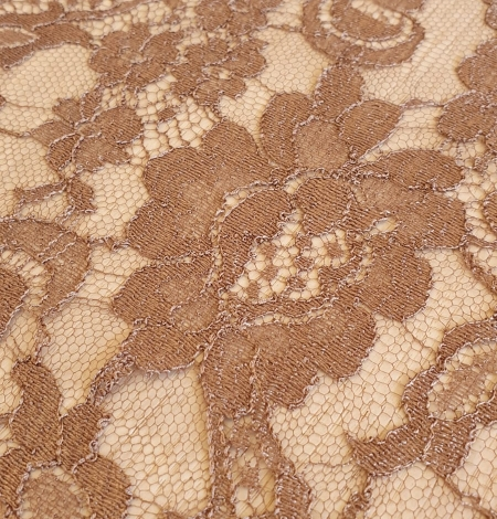 Brown viscose chantilly lace fabric. Photo 4