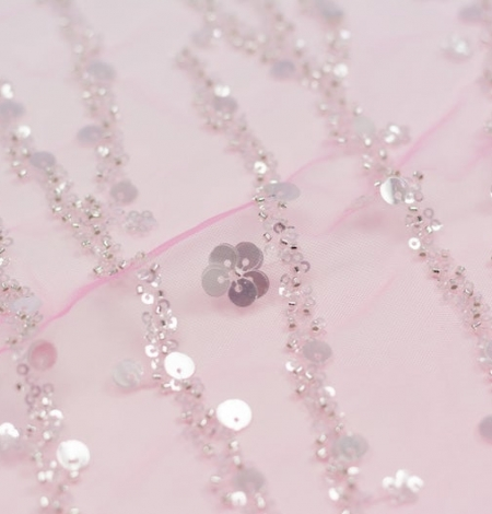 Pink ombre beaded embroidery on tulle fabric . Photo 3
