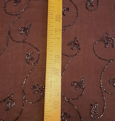 Lilac embroidery on silk chiffon fabric. Photo 5