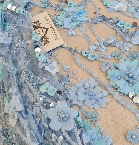 Blue 3D floral organic pattern on tulle fabric. Photo 2