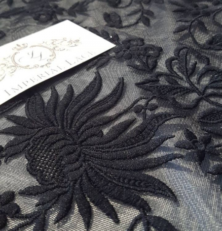 Black embroidery lace fabric. Photo 2