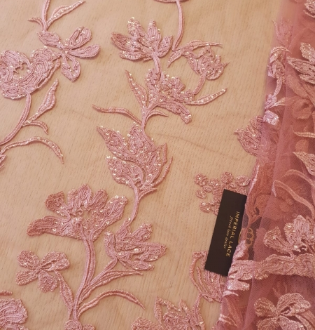 Raspberry pink floral pattern embroidery sequins on soft tulle fabric. Photo 2