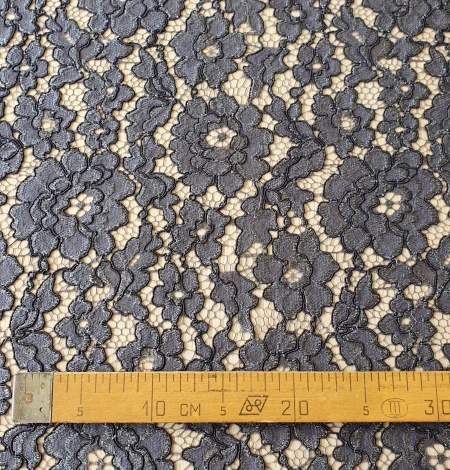 Grey floral pattern cord thread guipure lace fabric. Photo 11