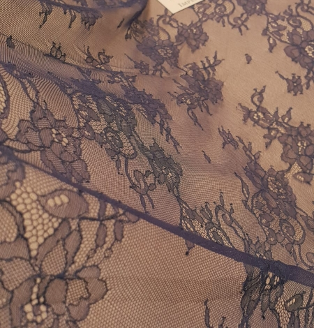 Blue chantilly lace fabric. Photo 3