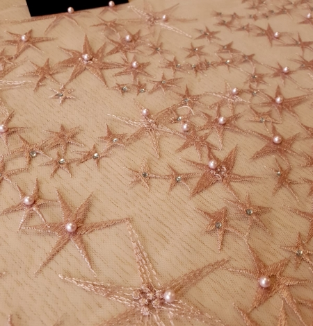 Old Rose stars embroidery on tulle fabric. Photo 3