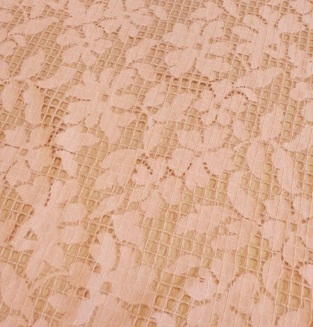 Pink floral and checkered guipure lace fabric. Photo 4