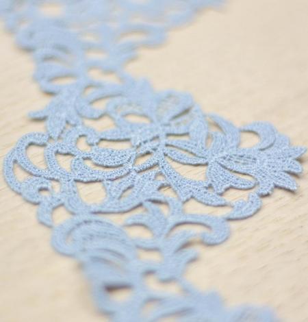 Light blue light macrame floral pattern lace trimming. Photo 2