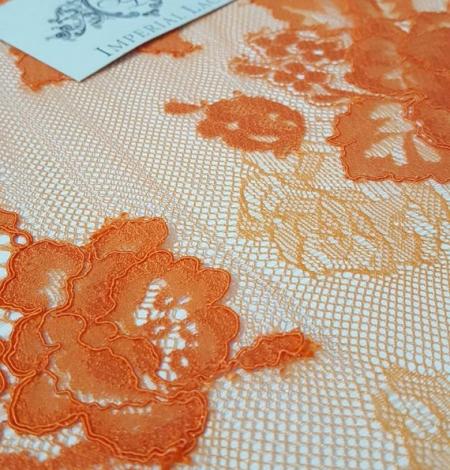 Orange Lace Fabric. Photo 1