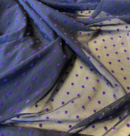 Dark blue tulle with lilac dots. Photo 4