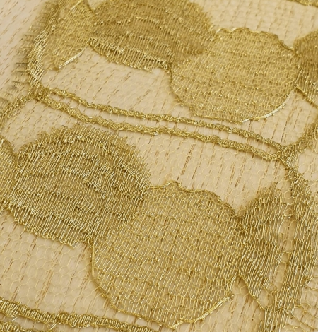 Gold chantilly lace fabric. Photo 6