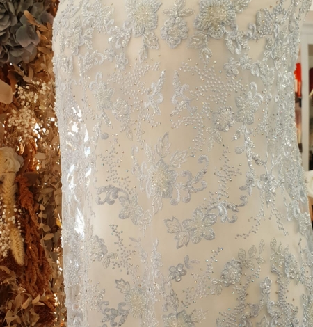 Light blue beaded embroidery on tulle fabric. Photo 9