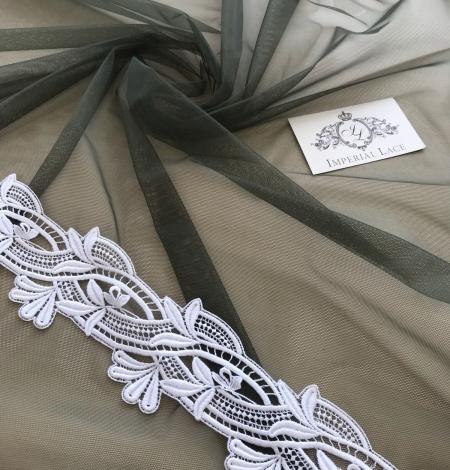 Dark khaki green tulle fabric. Photo 1