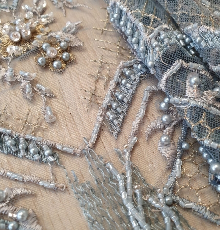 Greyish blue beaded with hanging details embroidery on tulle. Photo 2