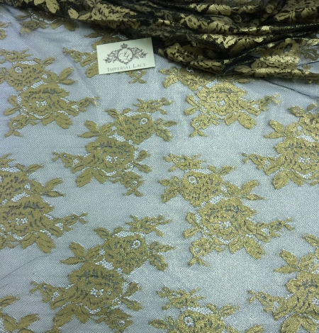 Black Lace Fabric with gold ink. Photo 1