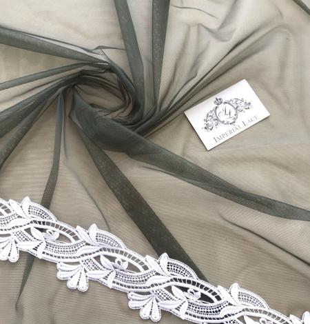 Dark khaki green tulle fabric. Photo 4