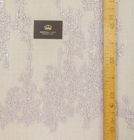 Nude organic pattern embroidery with sequins on tulle fabric. Photo 12