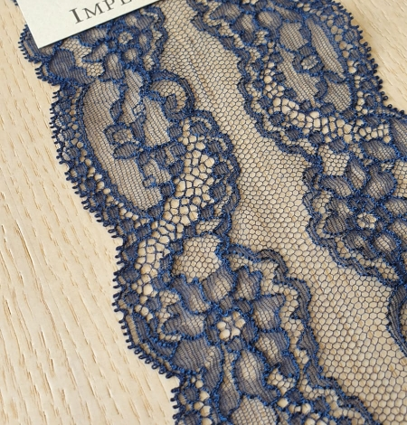 Dark blue elastic chantilly lace trimming. Photo 1