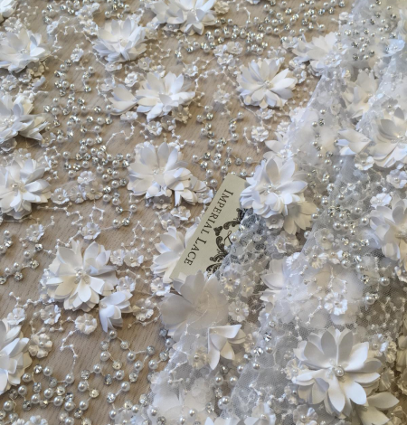 Off white 3D beaded floral embroidery on tulle fabric. Photo 3