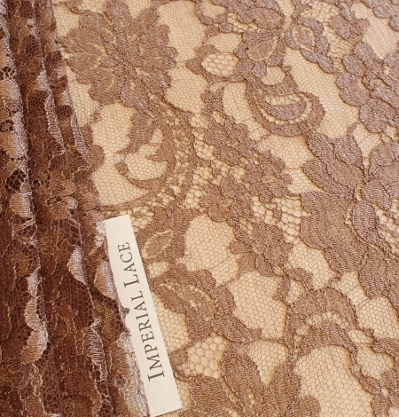 Brown viscose chantilly lace fabric. Photo 2