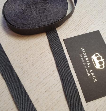 Dark grey grosgrain viscose ribbon . Photo 5