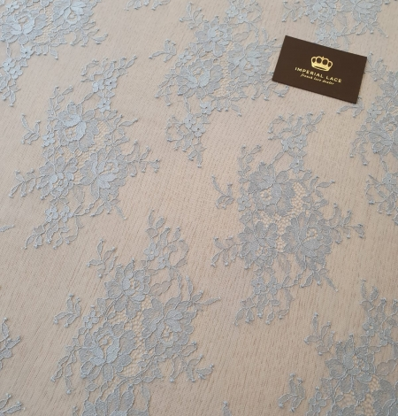 Bluish grey floral pattern chantilly lace fabric. Photo 3