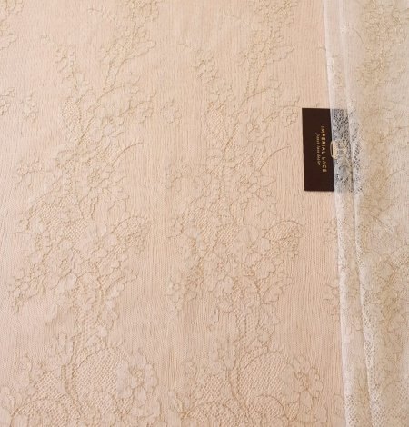 Ivory and grey with gold thread chantilly lace fabric. Photo 7