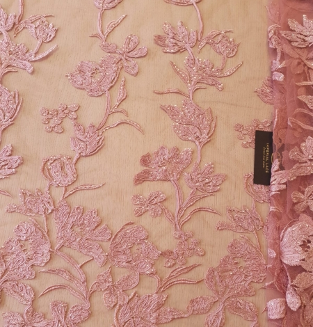 Raspberry pink floral pattern embroidery sequins on soft tulle fabric. Photo 7