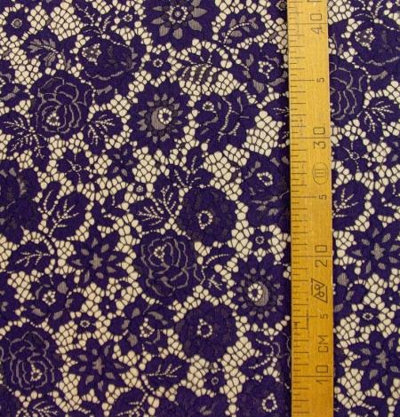 Dark purple floral guipure lace fabric . Photo 9