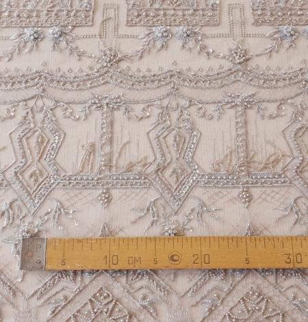 Beigish gray geometric with hanging details beaded lace fabrics. Photo 10
