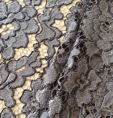Grey floral pattern cord thread guipure lace fabric. Photo 5