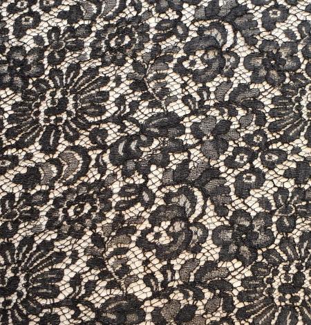 Black viscose chantilly lace fabric. Photo 2