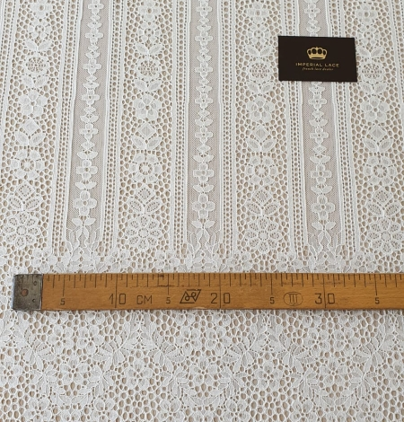 Ivory chantilly floral and stripes lace fabric. Photo 10
